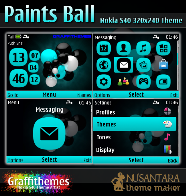 Nokia S40 theme : Paints Ball for C3-00, X2-01, 200, 201, 302 and 320