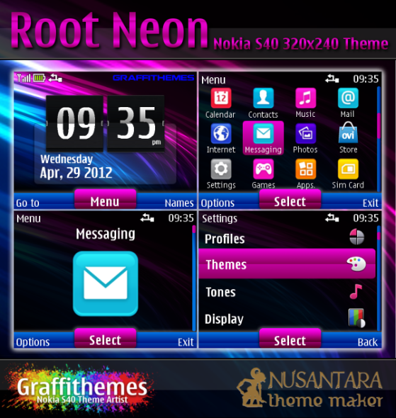 Nokia S40 theme : Root Neon for C3-00, X2-01, 200, 201, 302 and 320 ...