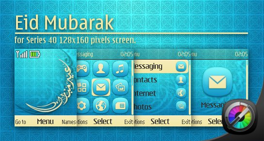 Nokia theme: Eid Mubarak for Series 40 128×160 pixels